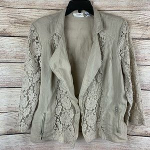 Chico's Open Front No Zip Lace Detail Cardigan